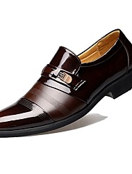 cheap -Comfort Shoes Patent Leather Spring / Fall Business Loafers & Slip-Ons Black / Brown / Party & Evening