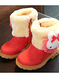 cheap -Girls' Shoes Leatherette Spring Fall Comfort Snow Boots Boots for Casual Pink Red Brown