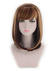 cheap -Synthetic Wig Straight / Wavy Bob Haircut Synthetic Hair Highlighted / Balayage Hair Brown Wig Women's Capless