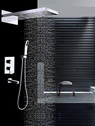 Moderní Nástěnná montáž Vodopád Dešťová sprcha Včetne sprchové hlavice Keramický ventil Dvěma uchy čtyři otvory Pochromovaný , Sprchová