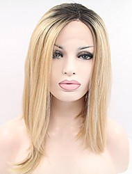 abordables -Perruque Lace Front Synthétique Droit Cheveux Colorés Coupe Carré Dentelle frontale Femme Blond Perruque Naturelle Court