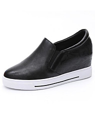cheap -Women's Shoes Cowhide Nappa Leather Spring Fall Comfort Loafers & Slip-Ons Wedge Heel for Casual Black White