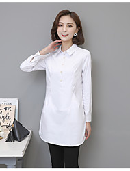 cheap -Women's Daily Vintage Winter Blouse,Solid Round Neck Long Sleeve Cotton Acrylic Opaque
