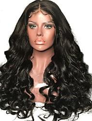 billige -Menneskehår Halvblonder uden lim / Blonde Front Paryk Brasiliansk hår Bølget / Naturligt, bølget hår Paryk Med babyhår 130% Natural Hairline / 100% Jomfru / ubehandlet Dame Medium / Lang