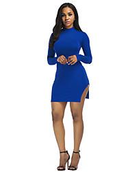 cheap -Women's Cute Casual Shift Sheath Dress - Floral Solid Color, Split High Waist Deep U