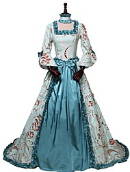 abordables -Victorien Rococo Costume Femme Adulte Tenue Imprimé Vintage Cosplay 100% Coton Manches 3/4 Gigot / Ballon Asymétrique