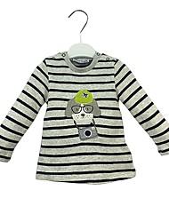 baratos -bebê Para Meninos Camiseta Diário Listrado Algodão Manga Longa Fofo Casual Activo Cinza Claro