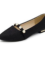 cheap -Women's Shoes PU Summer Comfort Slippers & Flip-Flops Flat Heel Open Toe Rhinestone for Casual Black Silver Golden