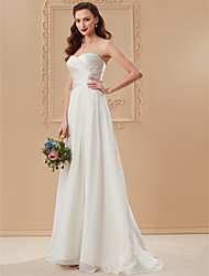 cheap -A-Line Princess Sweetheart Floor Length Chiffon Custom Wedding Dresses with Criss Cross by LAN TING BRIDE®