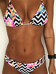 cheap -Women's Strap Triangle Bikini - Striped Floral, Print Cheeky