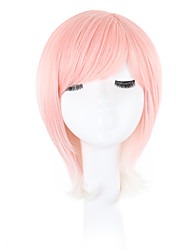 cheap -Synthetic Wig Wavy Pixie Cut Bob Haircut With Bangs African American Wig Side Part Natural Hairline Pink Capless Halloween Wig Celebrity