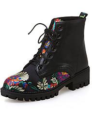Недорогие -Жен. Обувь Нубук Полиуретан Зима Осень Удобная обувь Оригинальная обувь Армейские ботинки Ботинки На низком каблуке Заостренный носок