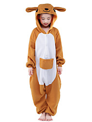abordables -Pyjamas Kigurumi Kangourou Combinaison de Pyjamas Costume Polaire Orange Cosplay Pour Enfant Pyjamas Animale Dessin animé Halloween Fête