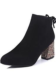 Недорогие -Жен. Бархатистая отделка / Полиуретан Весна / Осень Удобная обувь / Модная обувь Ботинки На толстом каблуке Круглый носок Ботинки Черный