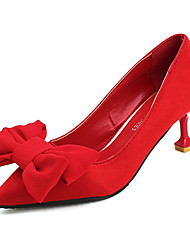 cheap -Women's Shoes PU Spring Fall Comfort Heels High Heel Pointed Toe Bowknot for Casual Red Black