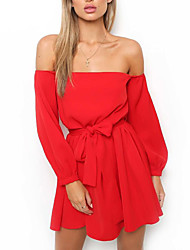 cheap -Women's Street chic Sheath Dress - Solid Colored, Backless Bow High Waist Mini Strapless