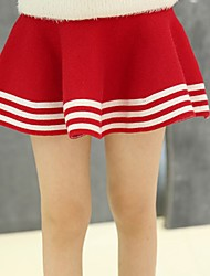 cheap -Girls' Solid Striped Skirt,Cotton All Season Active Red
