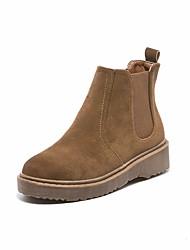 Недорогие -Жен. Обувь Кожа Осень Зима Армейские ботинки Ботинки На толстом каблуке Круглый носок Ботинки для Черный Коричневый