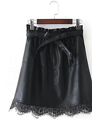 cheap -Women's Swing Skirts - Solid Colored Print High Waist / Winter / Lace / Bow