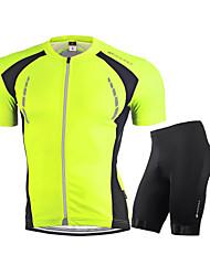 baratos -Nuckily Homens Manga Curta Camisa com Shorts para Ciclismo - Branco Vermelho Verde Azul Moto Conjuntos de Roupas, Respirável, Tiras