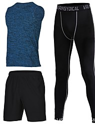 cheap -Men's Running Shirt with Pants - Blue, Pink, Grey Sports Shorts / Leggings Fitness, Gym, Workout Sleeveless Activewear Fast Dry