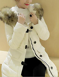 cheap -Women's Down Coat Daily Work Solid-Cotton White Duck Down Long Sleeves