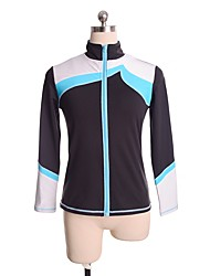 cheap -Figure Skating Fleece Jacket Women's / Girls' Ice Skating Top Blue Spandex Stretchy Performance / Practise Skating Wear Solid Colored