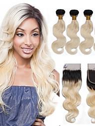 Недорогие -4 предмета Черный / Bleach Blonde Естественные кудри Бразильские волосы Ткет человеческих волос Наращивание волос 0.4kg