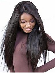 Недорогие -Натуральные волосы Лента спереди Парик Бразильские волосы Прямой С пушком 130% плотность Необработанные 100% девственница Природные волосы