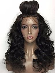 levne -Přírodní vlasy Brazilské vlasy Krajka paruka Vlnitá Dětské vlasy Celokrajkové Nezpracované 100% Panna Přírodní vlasová linie 130% Hustota
