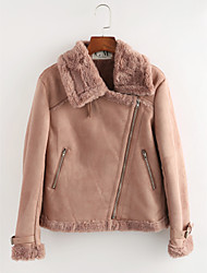 cheap -Women's Faux Fur Jacket - Solid Colored Shirt Collar