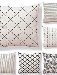 economico -6 pezzi Tessuto Cotone/Lino Copricuscino, A pois Fantasia geometrica A quadri