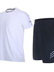 cheap -Men's Running Shirt with Shorts - Green, Blue, Grey Sports Shorts Fitness, Gym, Workout Short Sleeve Activewear Fast Dry