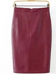 cheap -Women's Daily Work Knee-length Skirts,Casual Bodycon Linen Print Fall/Autumn