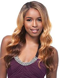 baratos -Perucas sintéticas Onda de Corpo Cabelo Sintético Cabelo com Luzes / Reflexos / Peruca Afro Americanas Marrom Peruca Mulheres Longo Sem Touca