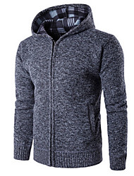 cheap -Men's Daily Regular Cardigan,Solid Hooded Long Sleeve Polyester Winter Fall Thick Micro-elastic