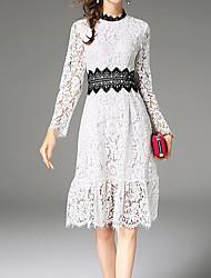Недорогие -Жен. Хлопок Кружева Платье - Контрастных цветов Вырез под горло Выше колена