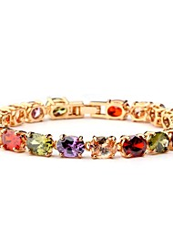 preiswerte -Damen Armband Synthetischer Rubin Klassisch Böhmische Süß Zirkon Kupfer Kreisform Schmuck Geburtstag Valentinstag Modeschmuck Regenbogen