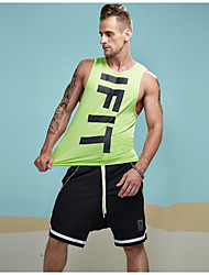 cheap -Men's Sports Active Tights / Leggings Cotton Tank Top - Solid Colored Letter Round Neck