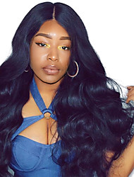 cheap -Human Hair Mongolian Lace Wig Kinky Curly Body Wave With Baby Hair Lace Front Natural Hairline 250% Density Natural Black Medium Long