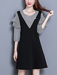 cheap -Women's Going out Simple Cute A Line Little Black DressStriped Color Block Round Neck Above Knee 3/4 Sleeve Polyester Spandex Spring Mid