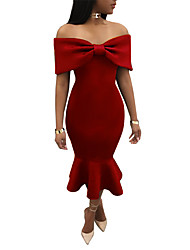 cheap -Women's Party Club Vintage Sexy Bodycon DressSolid Boat Neck Midi Short Sleeve Polyester Summer Fall Mid Rise Micro-elastic Opaque