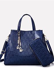 economico -Donna Sacchetti PU (Poliuretano) Tote Set di borsa da 2 pezzi Fiocco (fiocchi) per Tutte le stagioni Oro Nero Blu scuro