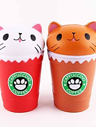 cheap -LT.Squishies Squeeze Toy / Sensory Toy Stress Relievers Toy Cat Coffee Cup Relieves ADD, ADHD, Anxiety, Autism Office Desk Toys Stress