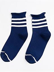 preiswerte -3 Paare Damen Socken Mittel Gestreift warm halten Deodorant Simple Style Baumwolle In-Rohr EU36-EU42