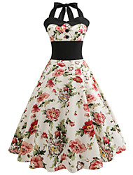 cheap -Women's Work Holiday Street chic Cotton Swing Dress - Floral High Waist Halter