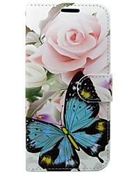 abordables -Coque Pour Huawei P10 Porte Carte Portefeuille Avec Support Clapet Papillon Fleur Dur pour Huawei