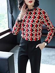 economico -Camicia Da donna Ufficio Da party/cocktail Sensuale Moda città Primavera Autunno,Monocolore Colletto alla coreana Seta Maniche lunghe