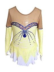 Недорогие -Платье для фигурного катания Для девочек Катание на коньках Платья Желтый Эластичная Для начинающих Профессиональный стиль Одежда для