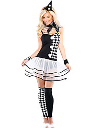 cheap -Burlesque Clown Cosplay Costume Women's Halloween Festival / Holiday Halloween Costumes Outfits Black Plaid / Check